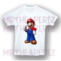 Mario Bros Franela Camisa Personalizada Cumpleaños