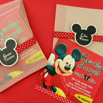 Mickey Mouse - 12 Tarjetas De Invitación Personalizadas