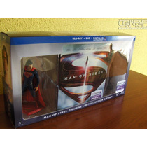 Superman Man Of Steel Edición Limitada Bluray Dvd + Figuras