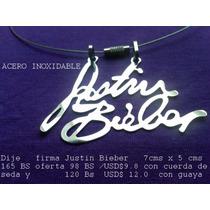 Cadenas Firmas Justin Bieber En Acero Inoxidable