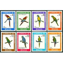 Estampillas De Bolivia Serie De 8 Valores De 1981 Guacamayas