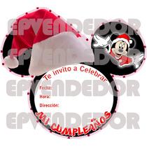 Tarjetas De Invitacion Minnie Y Mickey Navidad -invitaciones