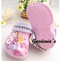 Coquetas Sandalias Crocs De Hello Kitty
