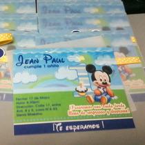 Mickey Mouse Baby - 12 Tarjetas De Invitación Personalizadas