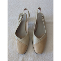Zapatillas Casuales De Tacón Bajo, Color Crema, Europeos.