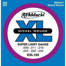 Set De Cuerdas D Addario Para Guitarra Electrica 009- Exl120