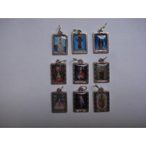 Recuerdo Medalla Ovalada Virgen Y Santos Metal Y Resina