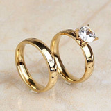 cbfb37a23a76 Set Anillos De Matrimonio Boda Con Baño De Oro 18k
