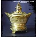 Lingote Cofre Labrado Dorado Para La Prosperidad 15x16cm