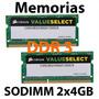 Kit Memoria Sodimm Para Laptop Ddr3 8 Gb 2 X 4gb 1333mhz