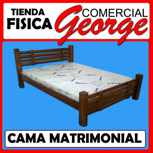 Cama matrimonial en madera comercial george bs for Cama matrimonial precio