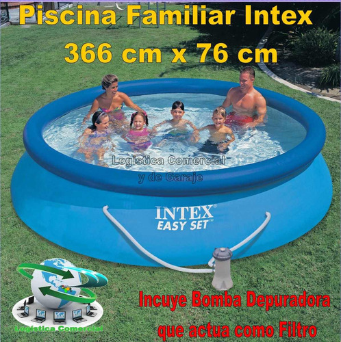 Piscina familiar inflable 366 x 76cm bomba filtrante for Alberca familiar intex