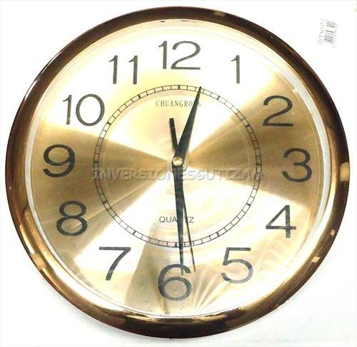 Reloj de pared dorado grande de 30cm de diametro elegante - Relojes grandes pared ...