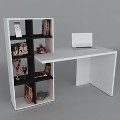 Mesa escritorio minimalista repisa moderno mdf mueble bs f - Mueble escritorio moderno ...