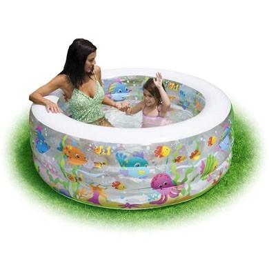 Piscina inflable acuario redonda piso acolchado 58480 for Piscina inflable bebe