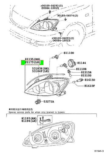 faro izquierdo toyota camry lumiere 2002 2006 original bs wdghd. Black Bedroom Furniture Sets. Home Design Ideas