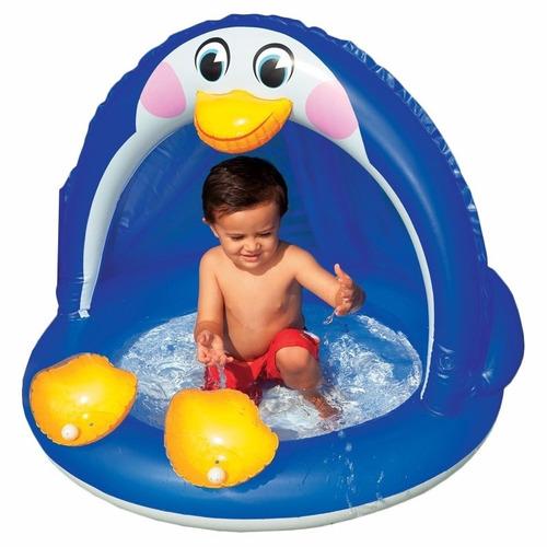 piscina inflable pinguino con parasol techo para bebe