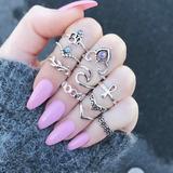Anillo Corona Midi Ring Moda Fashion 268gsc Mujer Set 10 Pzs