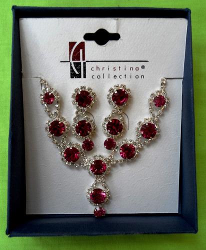 Collar + Zarcillos Con Pedreria Purpura Christina Collection