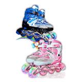 Patines En Linea Rosados Y Azules + Kit De Proteccion