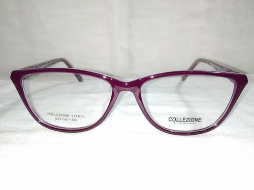 0c64f554cf Montura Lentes Dama Agatados Modernos Violetas