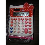 Calculadora Hello Kitty Sanrio Blanco Con Rojo  Pila/solar