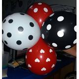 Globos Estampados Lunares Corazones R12 Negros Rojos Blancos