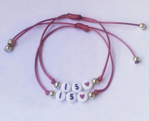 67f80e6f4bcf Pulseras Personalizadas Para Parejas -con Letras Y Corazones