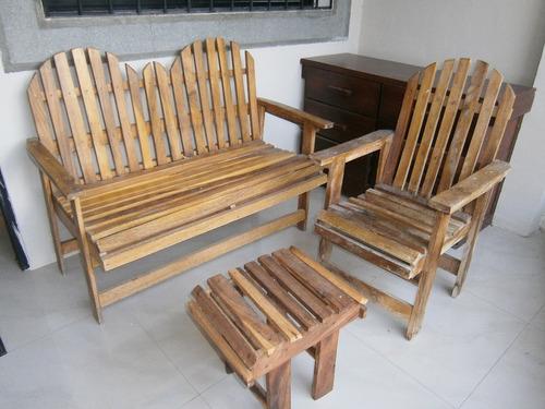 Muebles rusticos en madera para jardin 4 pzas merida for Muebles rusticos precios