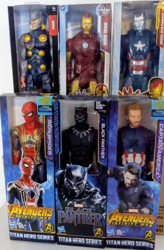 Pantera Negra Capitan Spiderman Wolverin Ironman Hasbro 30cm