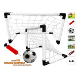 Set Cancha De Futbol 4en1 Mallas 2 Porterias Balon Inflador