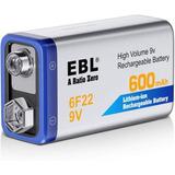 Batería Pila Recargable 9v Ebl Ion-litio 600mah