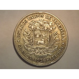 Excelente Moneda De Plata. Fuerte 5 Bolívares. Año 1936
