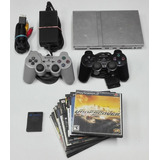 Ps2 Playstation 2 + Controles + 10 Juegos + Memory Chipeado
