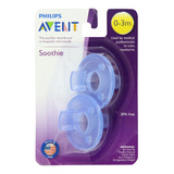 Set 2 Chupones Avent Soothie Bebes 0-3 Meses Azul