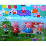 Set Peppa George Pig Familia Completa Con Luz Juguete Niño