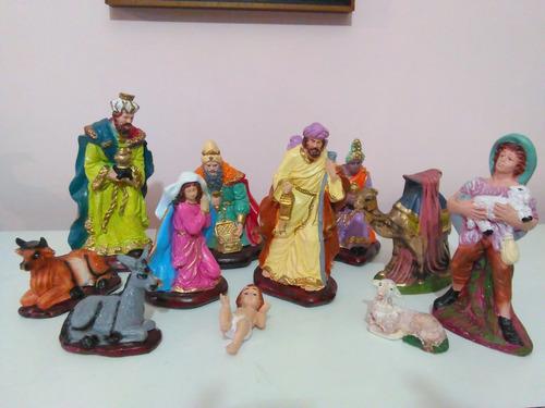 e4f5e9d6cde42 Nacimiento Pesebre Grande Tradicional Pintado Mano 11 Piezas