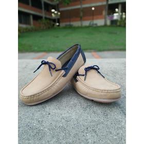 4cc08281 Zapatos Mocasines Nauticos Beige Azul M510 Caballero