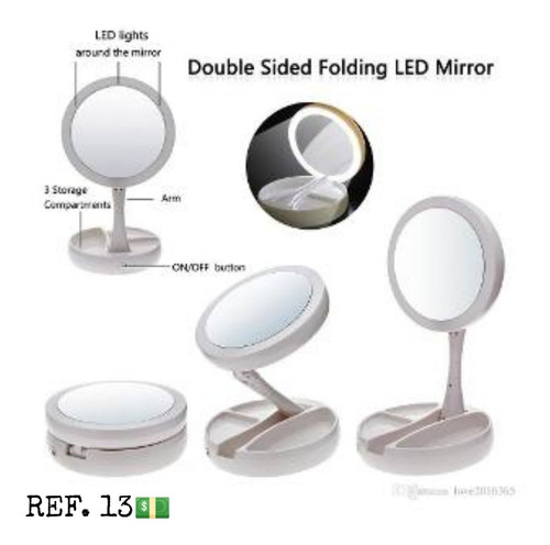 Espejo Facial Luz Led Aumento Muy Fold Win Mirro