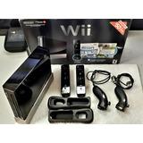 Nintendo Wii Negro Chipeado Con Accesorios