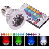 Reflector Led Multi Colores Rgb 3w Bombillo E27 Con Control