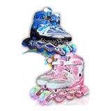 Rollers Patines En Linea Con Luces Niñas  Niños Kit Completo