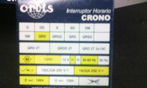 Reloj Programador Orbis Crono Qrd 16a 120v Bs