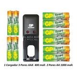 Pilas Baterías Aa  1000  Aaa 400 Recargables   Cargador