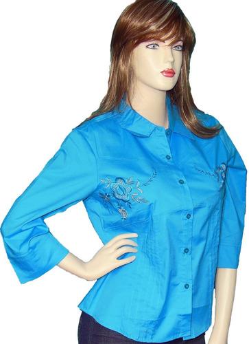 53577c5ef3ee6 Blusas Camisas Manga 3 4 Para Mujer Blusas Unicolor Botones