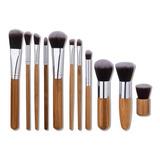 Set 10 Brochas Bambu Kabuki Maquillaje