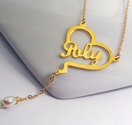 ba149f94869b Corazón Con Nombre Y Perla Baño De Oro Personalizado - 1750 en ...