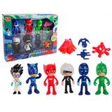 Set De 6 Figuras De Heroes En Pijama Pj Masks 8cm