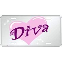 Placa Rosada Diva En Aluminio Para Tu Auto Con Relieve Pink