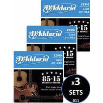3 Sets Cuerdas D Addario Bronce Para Guitarra Acústica 011